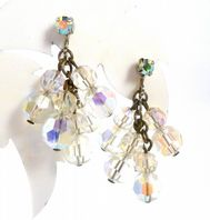 Vintage Aurora Borealis Crystal Drop Screw Back Earrings.